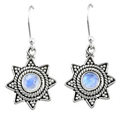2.61cts natural rainbow moonstone 925 sterling silver dangle earrings r65119