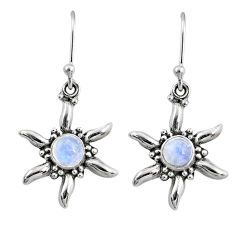 2.62cts natural rainbow moonstone 925 sterling silver dangle earrings r65120