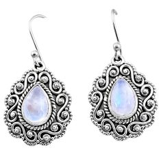 5.73cts natural rainbow moonstone 925 sterling silver dangle earrings r65127
