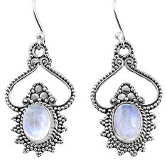 4.73cts natural rainbow moonstone 925 sterling silver dangle earrings r65146