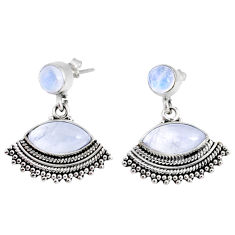 9.59cts natural rainbow moonstone 925 sterling silver dangle earrings r66596