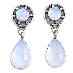 9.37cts natural rainbow moonstone 925 sterling silver dangle earrings r66606