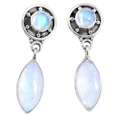 9.42cts natural rainbow moonstone 925 sterling silver dangle earrings r66610