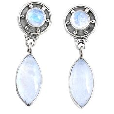 9.37cts natural rainbow moonstone 925 sterling silver dangle earrings r66612