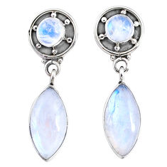 9.37cts natural rainbow moonstone 925 sterling silver dangle earrings r66615