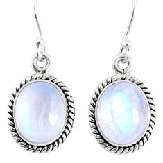 7.97cts natural rainbow moonstone 925 sterling silver dangle earrings r66741