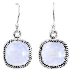 9.20cts natural rainbow moonstone 925 sterling silver dangle earrings r66753