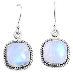 9.49cts natural rainbow moonstone 925 sterling silver dangle earrings r66754