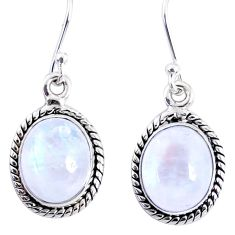 8.73cts natural rainbow moonstone 925 sterling silver dangle earrings r66756