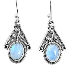4.18cts natural rainbow moonstone 925 sterling silver dangle earrings r67022