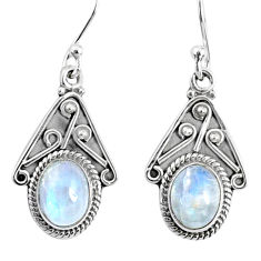 4.18cts natural rainbow moonstone 925 sterling silver dangle earrings r67056