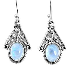 4.18cts natural rainbow moonstone 925 sterling silver dangle earrings r67059