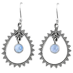2.21cts natural rainbow moonstone 925 sterling silver dangle earrings r67075