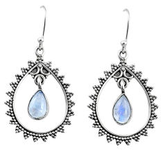 4.19cts natural rainbow moonstone 925 sterling silver dangle earrings r67079