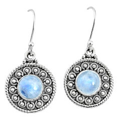 5.12cts natural rainbow moonstone 925 sterling silver dangle earrings r67113
