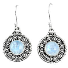4.94cts natural rainbow moonstone 925 sterling silver dangle earrings r67115