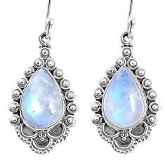 9.45cts natural rainbow moonstone 925 sterling silver dangle earrings r67130