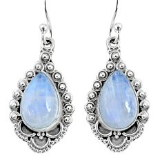 9.05cts natural rainbow moonstone 925 sterling silver dangle earrings r67160
