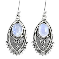 4.52cts natural rainbow moonstone 925 sterling silver dangle earrings r67174