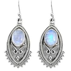 4.74cts natural rainbow moonstone 925 sterling silver dangle earrings r67175