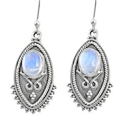 4.74cts natural rainbow moonstone 925 sterling silver dangle earrings r67178