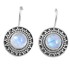 5.56cts natural rainbow moonstone 925 sterling silver dangle earrings r67194