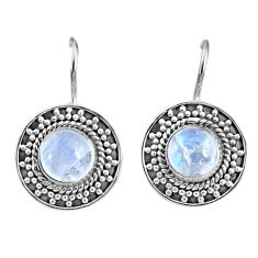 5.38cts natural rainbow moonstone 925 sterling silver dangle earrings r67195