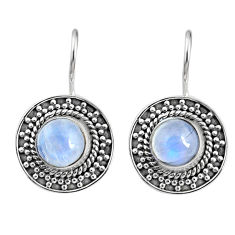 5.58cts natural rainbow moonstone 925 sterling silver dangle earrings r67197