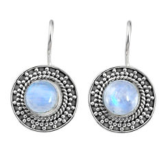 5.07cts natural rainbow moonstone 925 sterling silver dangle earrings r67209