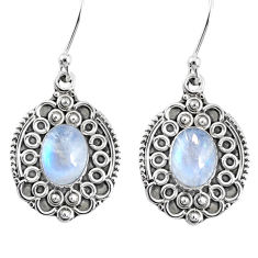 4.49cts natural rainbow moonstone 925 sterling silver dangle earrings r67210