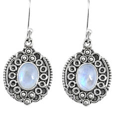 4.51cts natural rainbow moonstone 925 sterling silver dangle earrings r67211