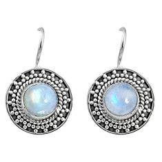 5.09cts natural rainbow moonstone 925 sterling silver dangle earrings r67212