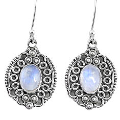 4.17cts natural rainbow moonstone 925 sterling silver dangle earrings r67215
