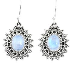 4.43cts natural rainbow moonstone 925 sterling silver dangle earrings r68399