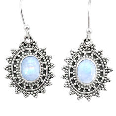 4.60cts natural rainbow moonstone 925 sterling silver dangle earrings r68400