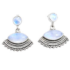 9.57cts natural rainbow moonstone 925 sterling silver dangle earrings r74814
