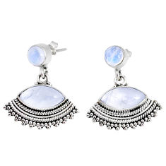 9.90cts natural rainbow moonstone 925 sterling silver dangle earrings r74818