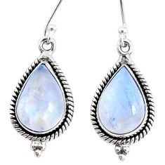 10.29cts natural rainbow moonstone 925 sterling silver dangle earrings r74877