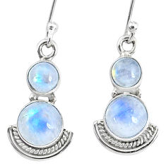 5.84cts natural rainbow moonstone 925 sterling silver dangle earrings r74918