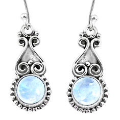 5.36cts natural rainbow moonstone 925 sterling silver dangle earrings r74920
