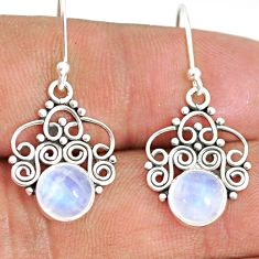 5.79cts natural rainbow moonstone 925 sterling silver dangle earrings r84102