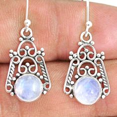5.80cts natural rainbow moonstone 925 sterling silver dangle earrings r84105