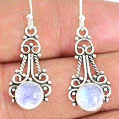 5.21cts natural rainbow moonstone 925 sterling silver dangle earrings r84106