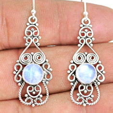 5.87cts natural rainbow moonstone 925 sterling silver dangle earrings r84109