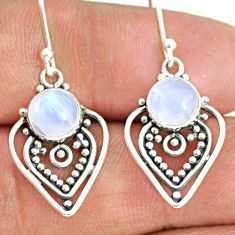 5.17cts natural rainbow moonstone 925 sterling silver dangle earrings r84113