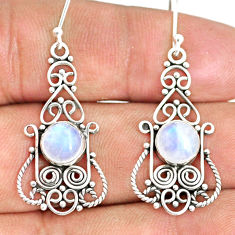5.63cts natural rainbow moonstone 925 sterling silver dangle earrings r84116