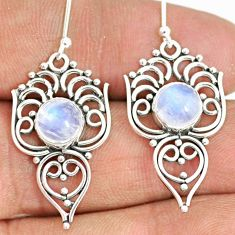 5.11cts natural rainbow moonstone 925 sterling silver dangle earrings r84123