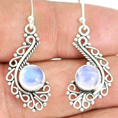 4.84cts natural rainbow moonstone 925 sterling silver dangle earrings r84126