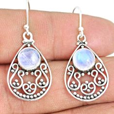 5.36cts natural rainbow moonstone 925 sterling silver dangle earrings r84134