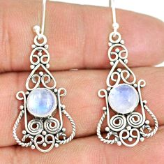 5.36cts natural rainbow moonstone 925 sterling silver dangle earrings r84135